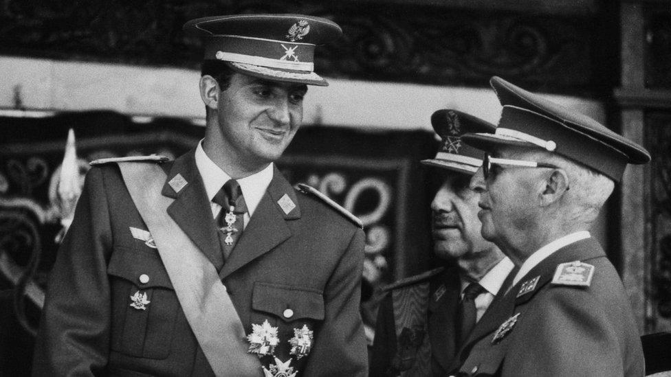 El dictador Francisco Franco y Juan Carlos de Borbón