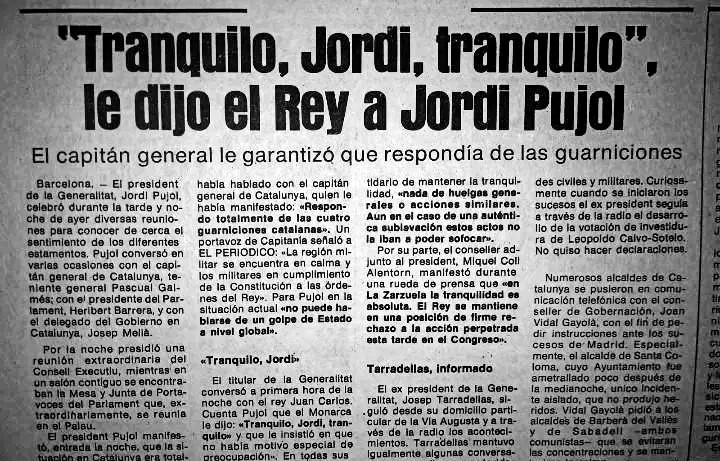 Jordi Pujol tranquilo el 23F