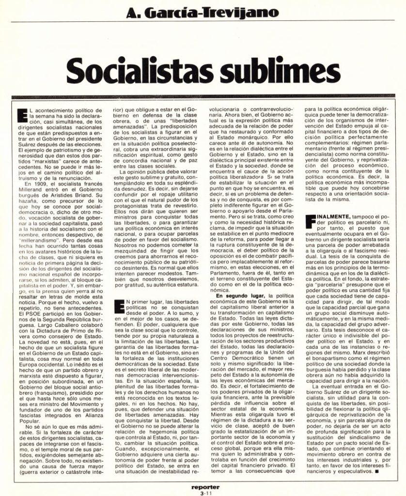 Reporter Nº3 (artículo) Socialistas sublimes