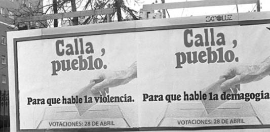 Cartel de propaganda del régimen español a finales de los 70