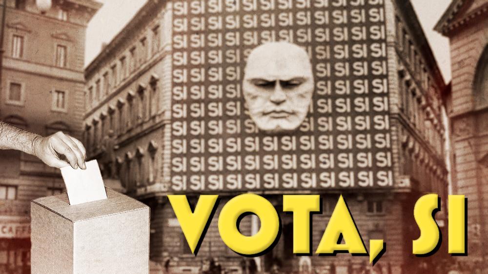 Sede partido fascista. Mussolini. Urnas. Partidocracia